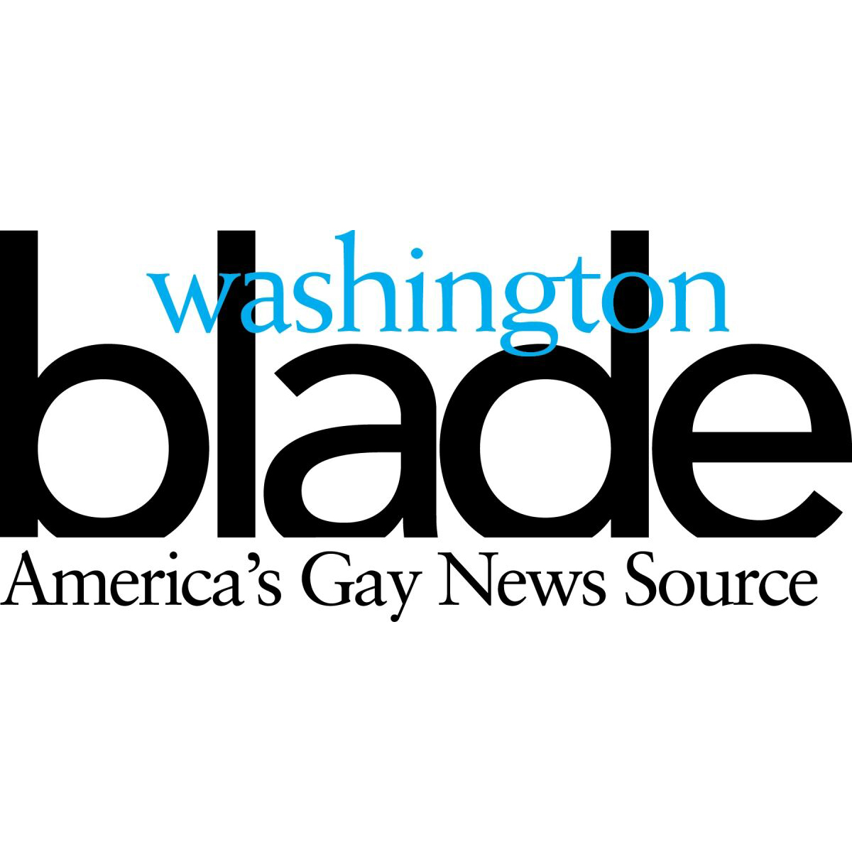 "Logo for ""Washington Blade: America's Gay News Source"" in black and blue on a white background."